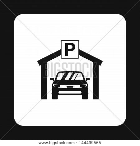 Car parking icon in simple style isolated on white background. Transport and service symbol