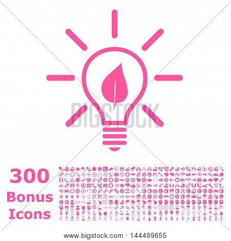 Eco Light Bulb icon with 300 bonus icons. Vector illustration style is flat iconic symbols, pink color, white background.