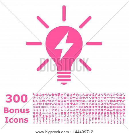 Electric Light Bulb icon with 300 bonus icons. Vector illustration style is flat iconic symbols, pink color, white background.