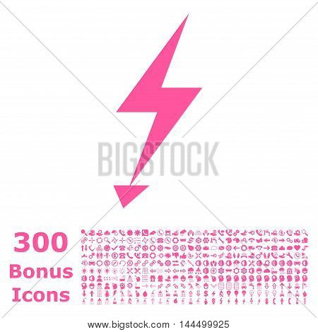 Electric Strike icon with 300 bonus icons. Vector illustration style is flat iconic symbols, pink color, white background.