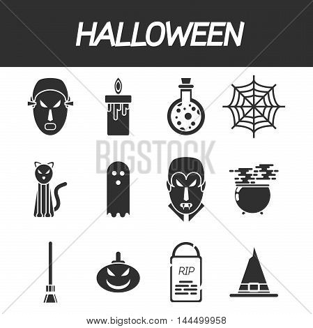 Halloween flat icon set. Illustration of collage for different concept of Halloween