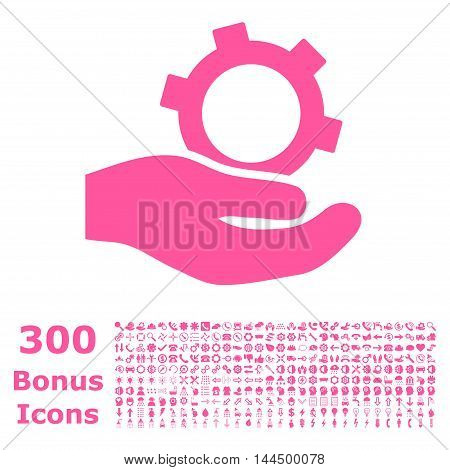 Engineering Service icon with 300 bonus icons. Vector illustration style is flat iconic symbols, pink color, white background.