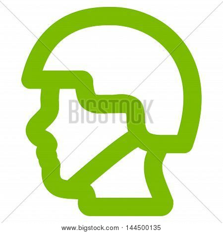 Soldier Head vector icon. Style is outline flat icon symbol, eco green color, white background.