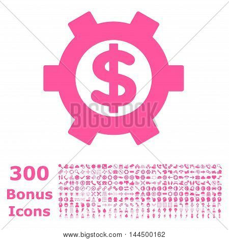 Financial Settings icon with 300 bonus icons. Vector illustration style is flat iconic symbols, pink color, white background.