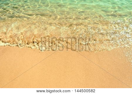 Crystal Transparent Waves On The Sand Beach. Koukounaries Beach. Skiathos Island, Sporades Archipela