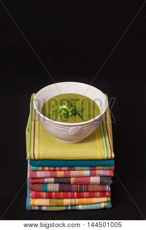 Pea mint soup with sour cream. The Princess and the Pea