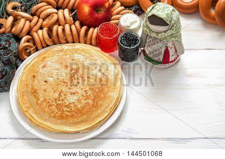 Maslenitsa Festival Meal. Pancake With Caviar And Tea