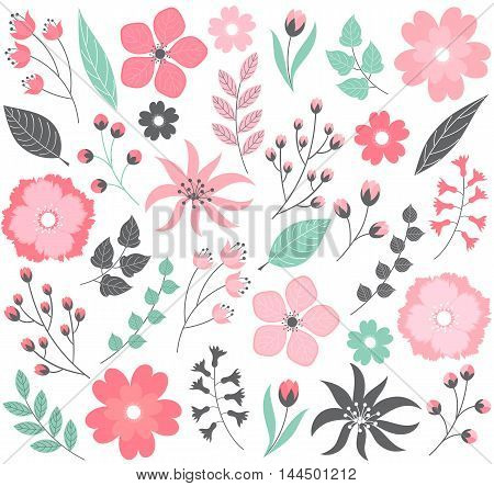 Vector pink and green pastel floral set