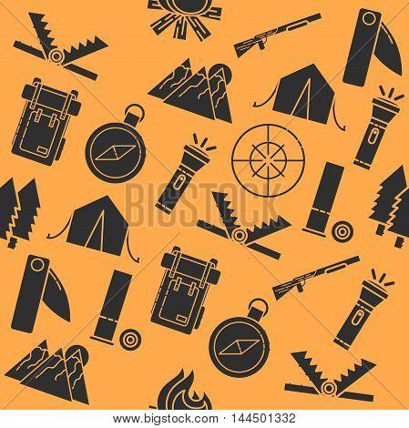 Hunting pattern. Dog hunting, equipment. Flat style Vector illustration