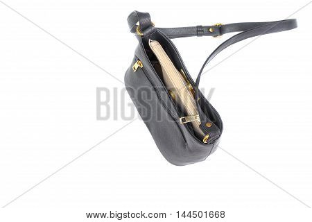 Top view Handbag Bag cosmetics and putting money for Lady. on white background
