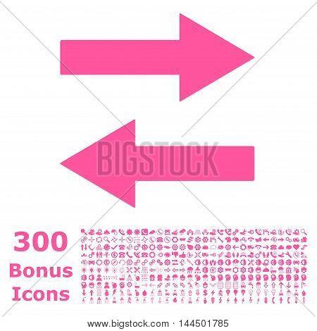 Horizontal Flip Arrows icon with 300 bonus icons. Vector illustration style is flat iconic symbols, pink color, white background.