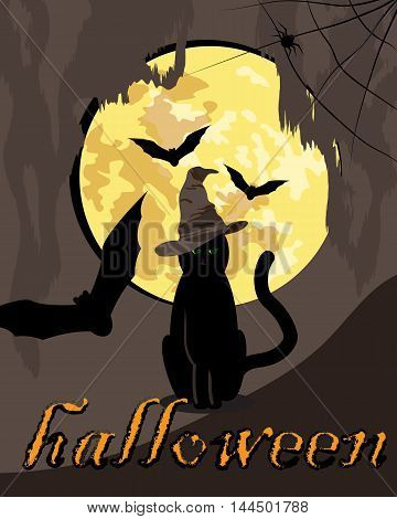 vector illustration of black cat and three bats with full moon on the background/ illustration to the Halloween