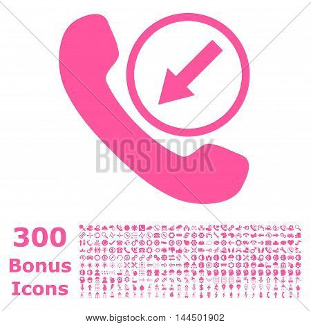Incoming Call icon with 300 bonus icons. Vector illustration style is flat iconic symbols, pink color, white background.