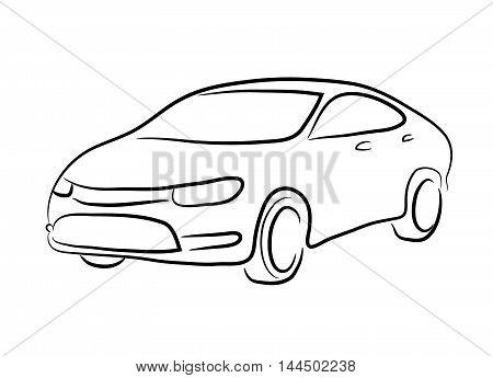 Sedan Car Line Art. A hand drawn vector line art of a sedan car.