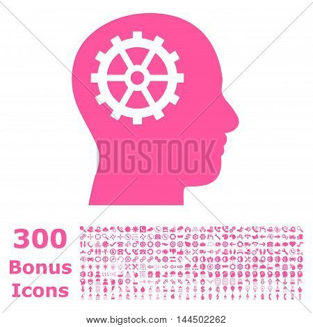 Intellect icon with 300 bonus icons. Vector illustration style is flat iconic symbols, pink color, white background.