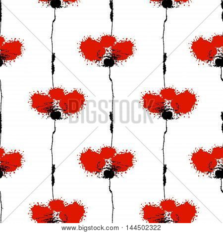 Vector hand drawn floral watercolor seamless pattern with poppy. Artistic creative colorful graphic ilustration with splash blots and smudge. Endless vector background graphic illustration