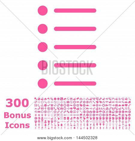 Items icon with 300 bonus icons. Vector illustration style is flat iconic symbols, pink color, white background.
