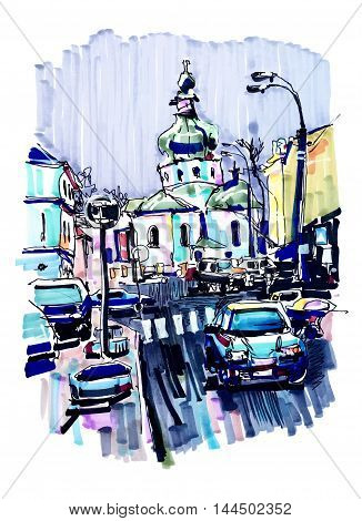 original marker urban sketch on paper of Kyiv Podol landscape with church, road, cars, lantern and building, travel card illustration