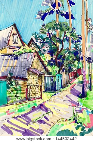 original marker sketch painting of rural landscape with house and tree in Irpin Kyiv region Ukraine, travel book illustration