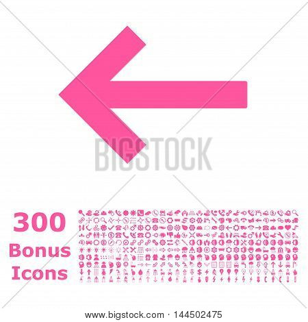 Left Arrow icon with 300 bonus icons. Vector illustration style is flat iconic symbols, pink color, white background.