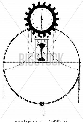 vector frame with clock chain and sandglass