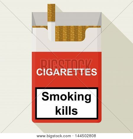 Cigarettes Pack. Flat Design.