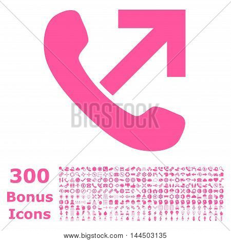 Outgoing Call icon with 300 bonus icons. Vector illustration style is flat iconic symbols, pink color, white background.