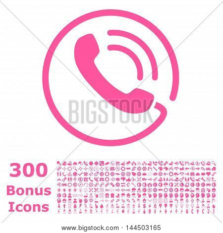 Phone Call icon with 300 bonus icons. Vector illustration style is flat iconic symbols, pink color, white background.