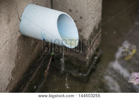 Drain dirty water PVC pipe to pond.