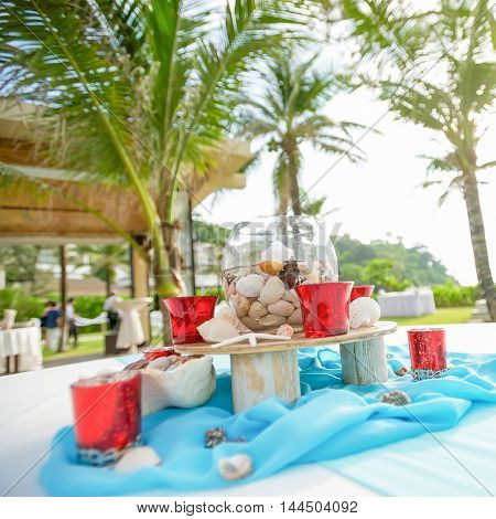 Beautiful seaside beach wedding decorations and arrangement.