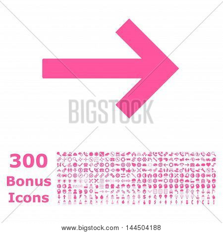 Right Arrow icon with 300 bonus icons. Vector illustration style is flat iconic symbols, pink color, white background.