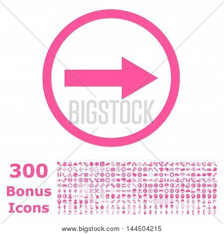 Right Rounded Arrow icon with 300 bonus icons. Vector illustration style is flat iconic symbols, pink color, white background.