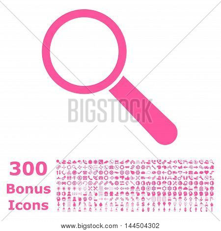 Search Tool icon with 300 bonus icons. Vector illustration style is flat iconic symbols, pink color, white background.