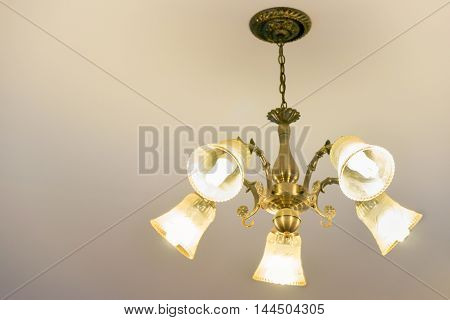 Ceiling lamp for interior decoration old style celling lamp copy space.