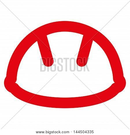 Helmet vector icon. Style is stroke flat icon symbol, red color, white background.