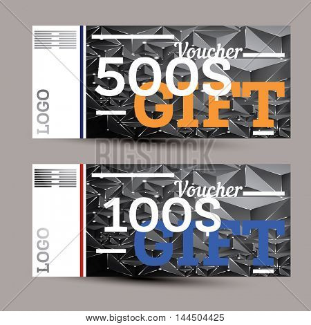 Gift voucher with neon lines. Vector illustration.