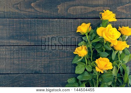 Bouquet Of Yellow Roses On Rustic Wooden Background. Valentine's Day And Mother's Day Background. Ho