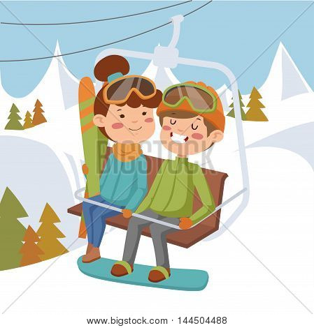 Girl and boy on ski lift. On the background of mountains and forests.
