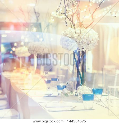 Setup and decorations for dining in wedding day