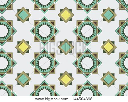 Seamless geometric pattern in shades of green. Vector background