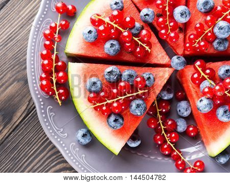 Wedges Of Watermelon Cake With Summer Berries