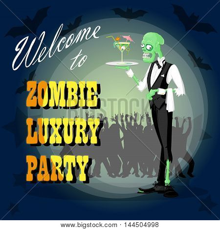 Halloween background. Concept design banner poster or card for holiday party with cute elegant zombie drawing in funny cartoon retro style. Vector illustration
