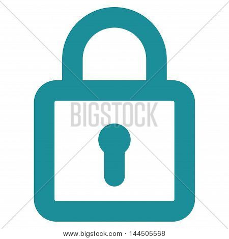 Lock vector icon. Style is stroke flat icon symbol, soft blue color, white background.