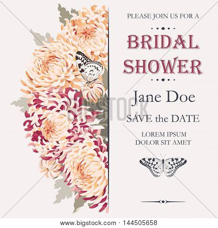 Vector bridal shower invitation with high detailed chrysanthemums