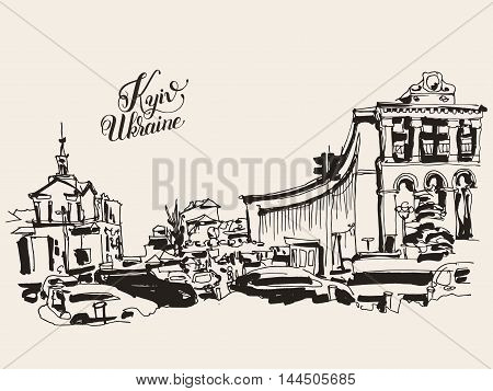 sketch marker drawing of Khreshchatyk the main street of the Ukrainian capital, famous place Maidan Nesalegnosty, sketching for postcard or travel book vector illustration