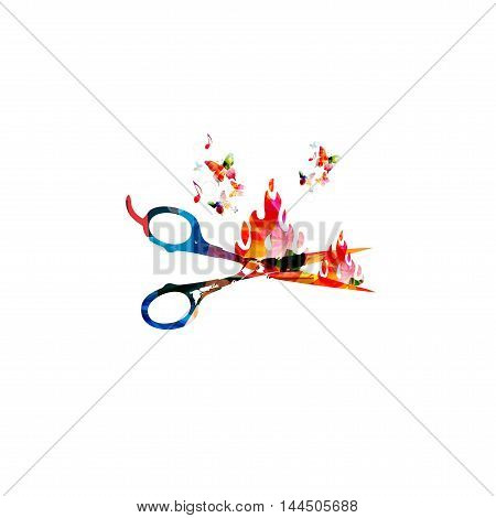 Colorful open scissors vector illustration with butterflies. Creative design for hair and beauty salon, fashion equipment, hairdresser trimming, haircut, stylish makeover and professional treatments