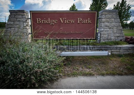Entrance to the Mackinaw Bridge View Park in St. Ignace, Michigan.