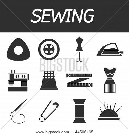 Flat icons vector collection of sewing items. Vector illustration, EPS 10