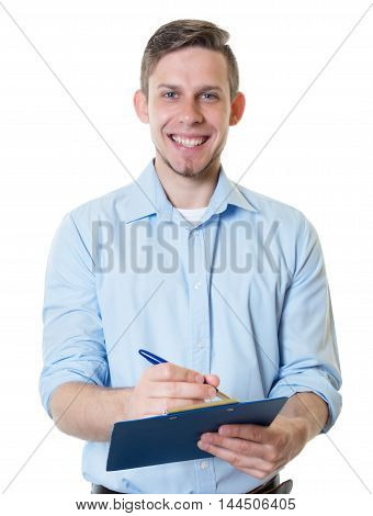 Caucasian businessman with clipboard on an isolated white background for cut out