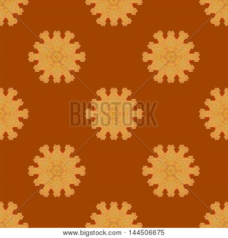 Red Brick Seamless Ornament Isolated on Orange Background